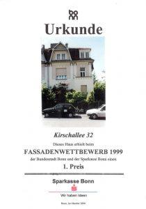 Urkunde Fassadenwettbewerb der Stadt Bonn