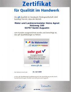 Zertifikat für Qualität im Handwerk
